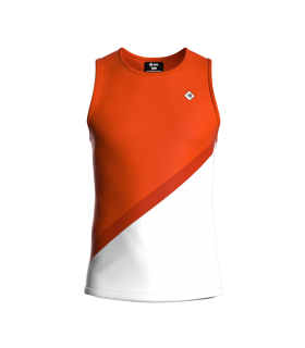 Camiseta Tirantes Hombre Naranja/Blanco